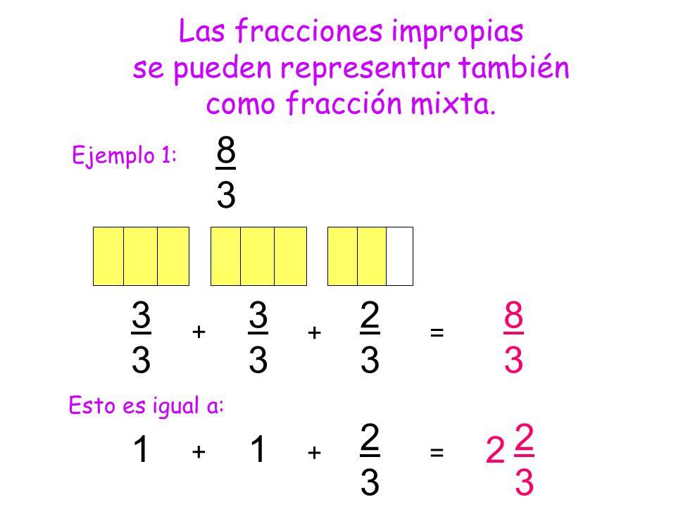 8 3 3 2 8 1 1 2 2 3 2 3 Las fracciones impropias