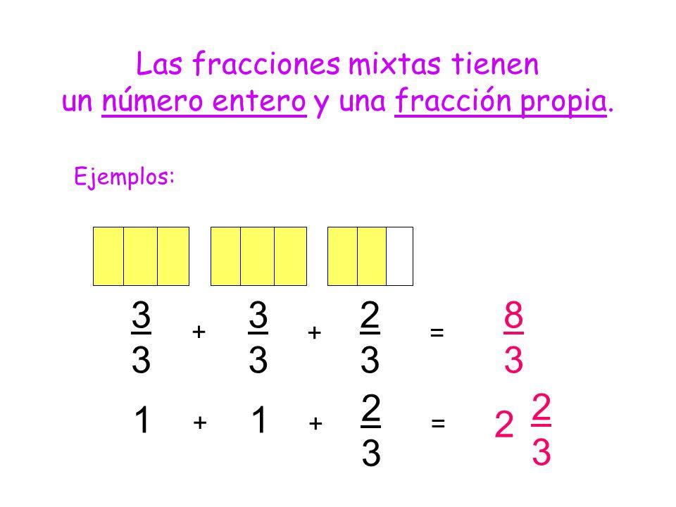 8 1 2 3 Las fracciones mixtas tienen