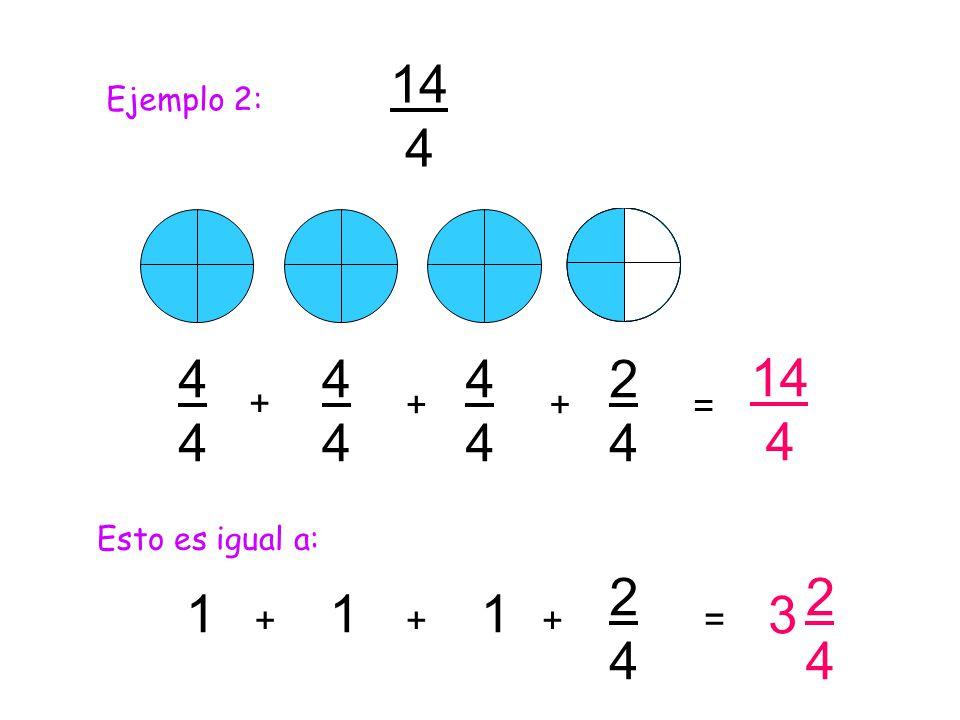14 4 Ejemplo 2: 4 4 4 2 4 14 4 + + + = Esto es igual a: 1 1 1 3 2 4 2 4 + + + =