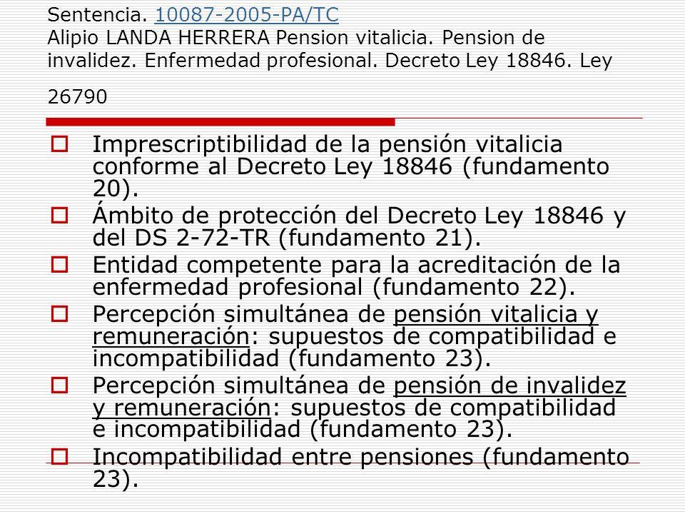 Incompatibilidad entre pensiones (fundamento 23).