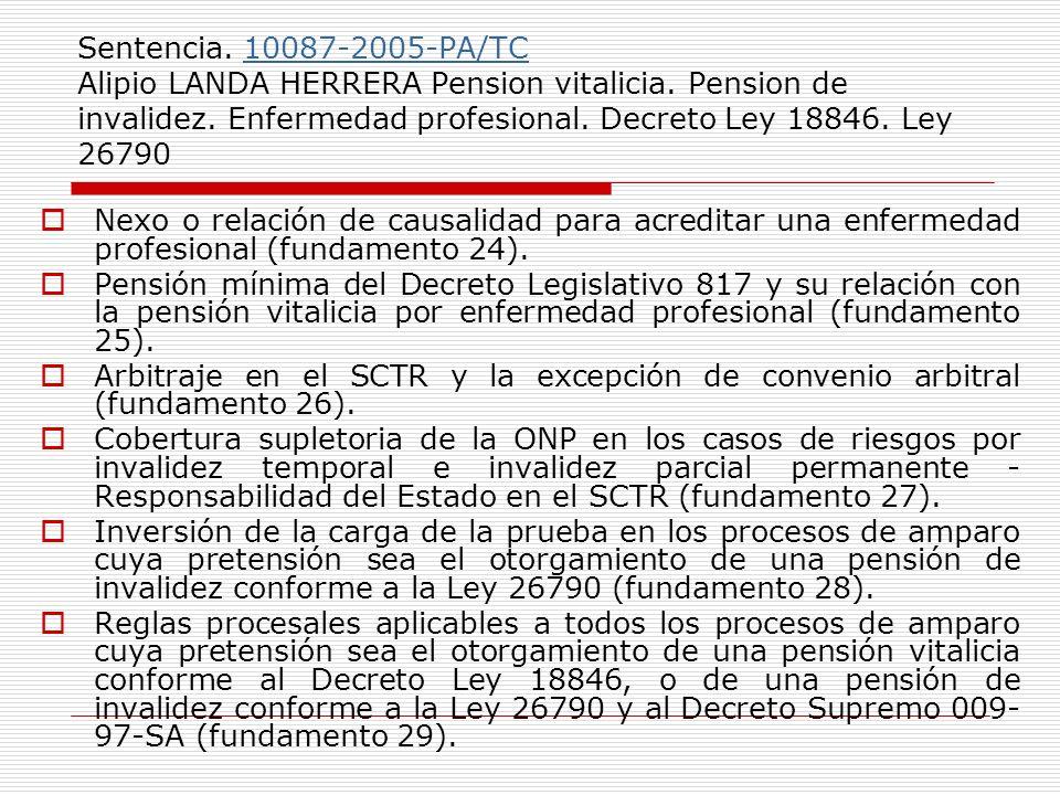 Sentencia. 10087-2005-PA/TC Alipio LANDA HERRERA Pension vitalicia