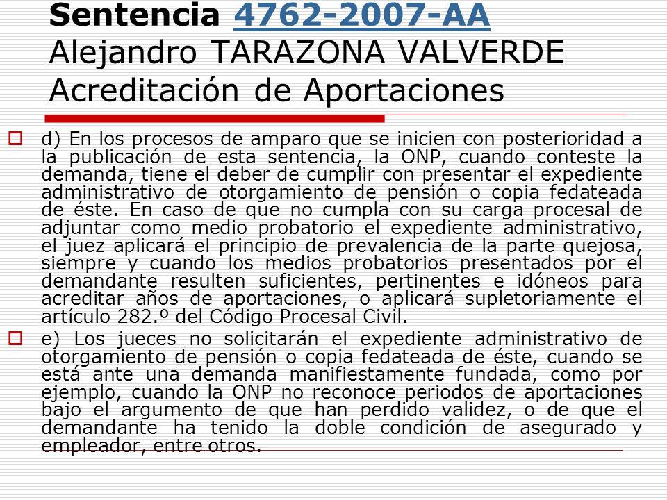 Sentencia 4762-2007-AA Alejandro TARAZONA VALVERDE Acreditación de Aportaciones