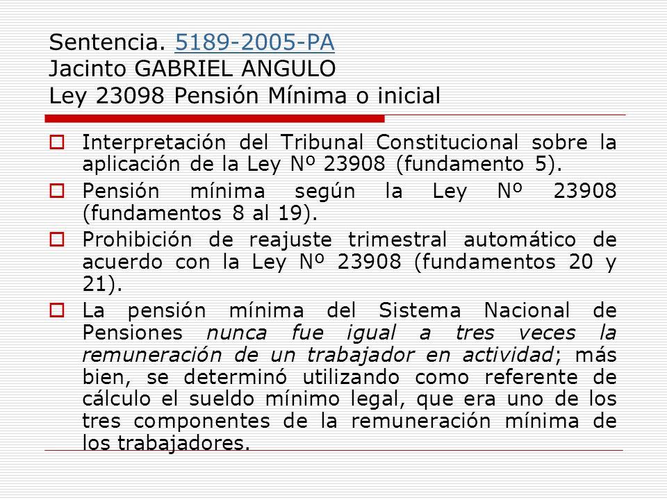 Sentencia. 5189-2005-PA Jacinto GABRIEL ANGULO Ley 23098 Pensión Mínima o inicial