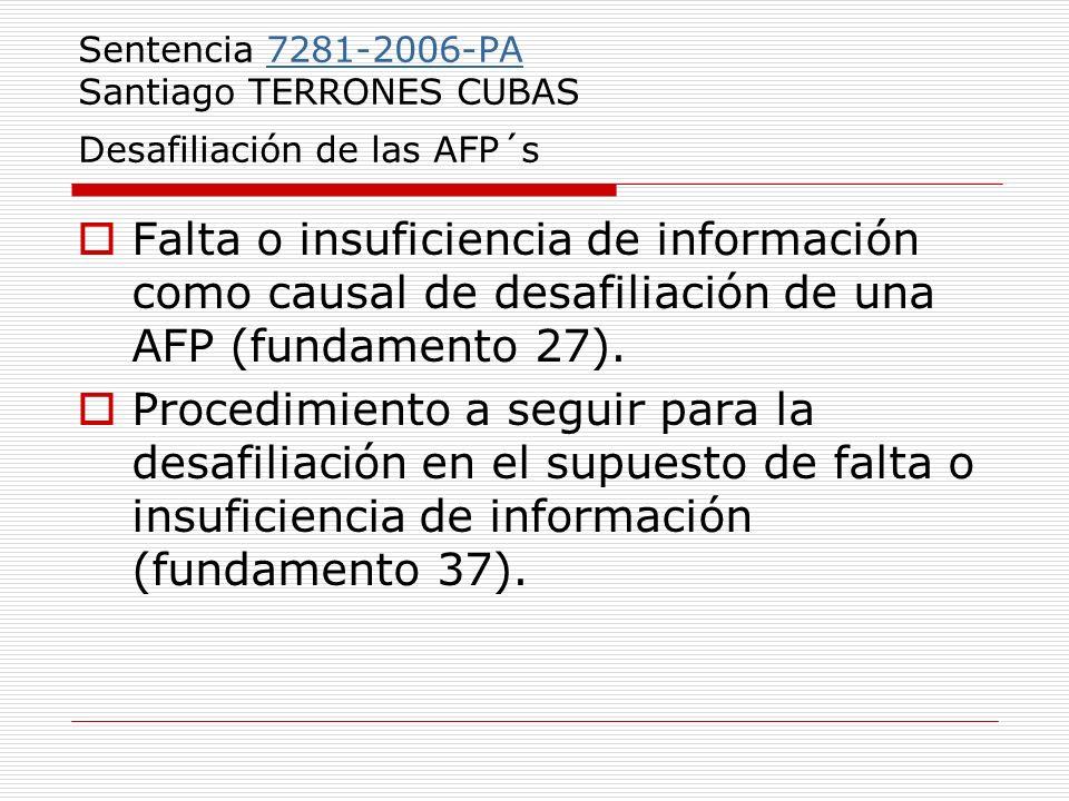 Sentencia 7281-2006-PA Santiago TERRONES CUBAS Desafiliación de las AFP´s