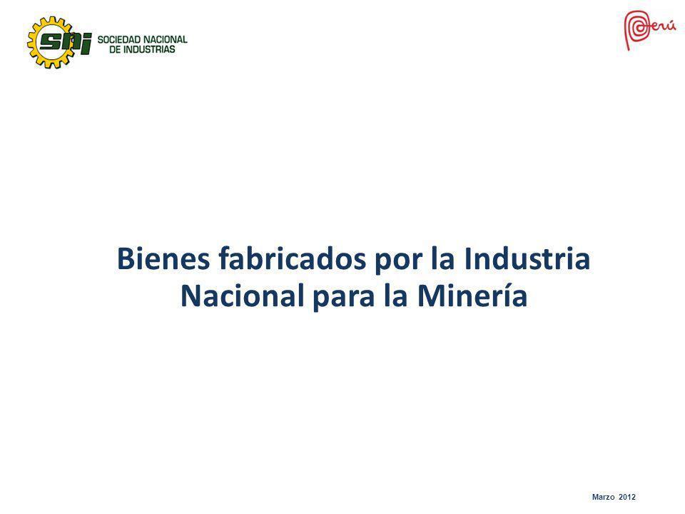 Bienes fabricados por la Industria Nacional para la Minería