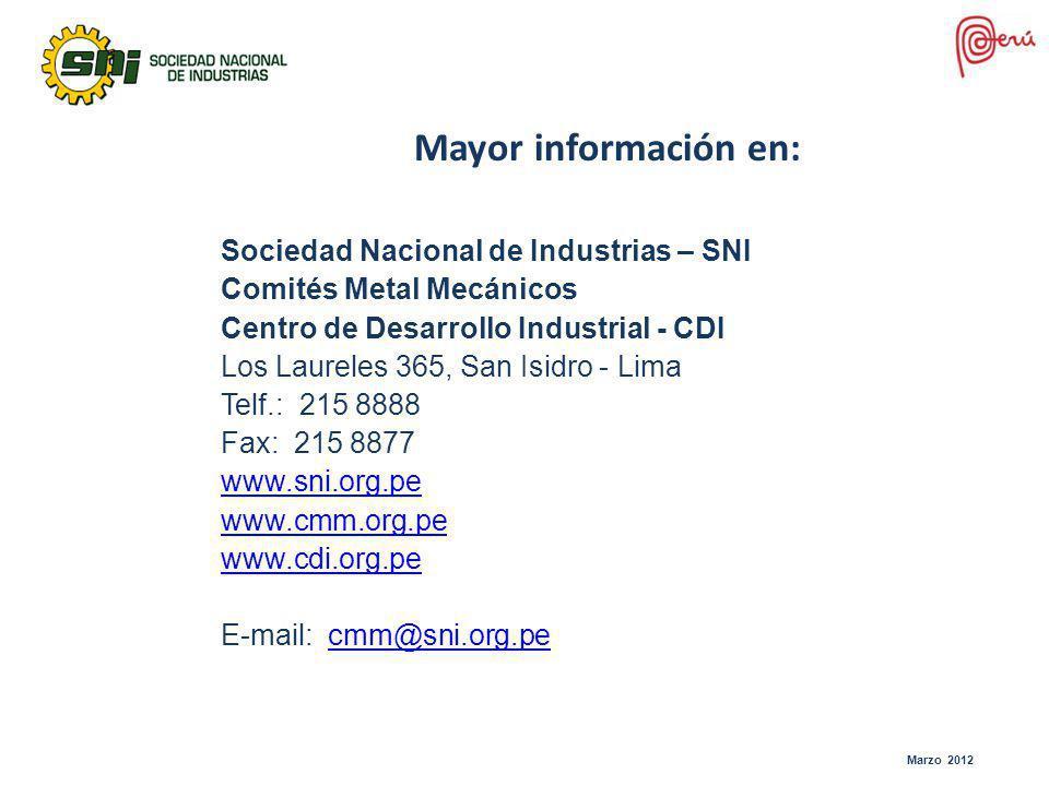 Mayor información en: Sociedad Nacional de Industrias – SNI