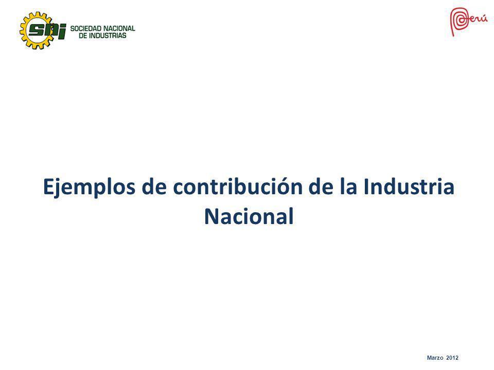 Ejemplos de contribución de la Industria Nacional