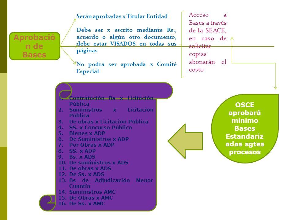 OSCE aprobará mínimo Bases Estandarizadas sgtes procesos