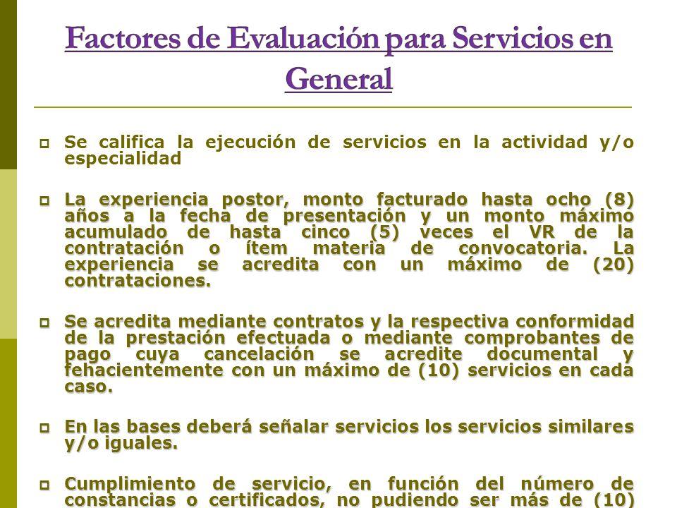 Factores de Evaluación para Servicios en General