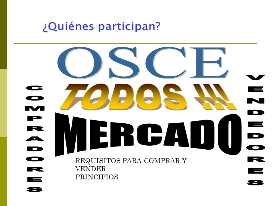 OSCE TODOS !!! VENDEDORES COMPRADORES MERCADO