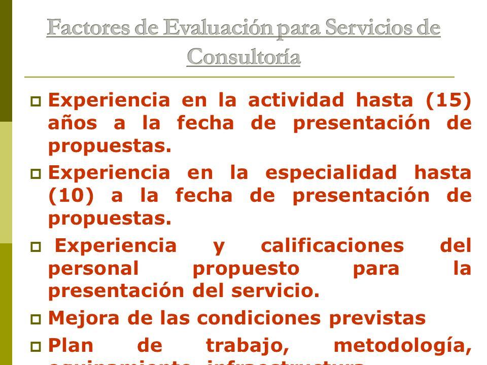 Factores de Evaluación para Servicios de Consultoría