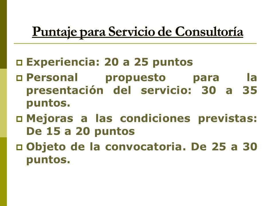 Puntaje para Servicio de Consultoría