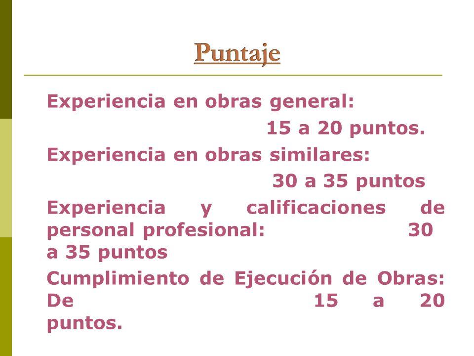 Puntaje Experiencia en obras general: 15 a 20 puntos.