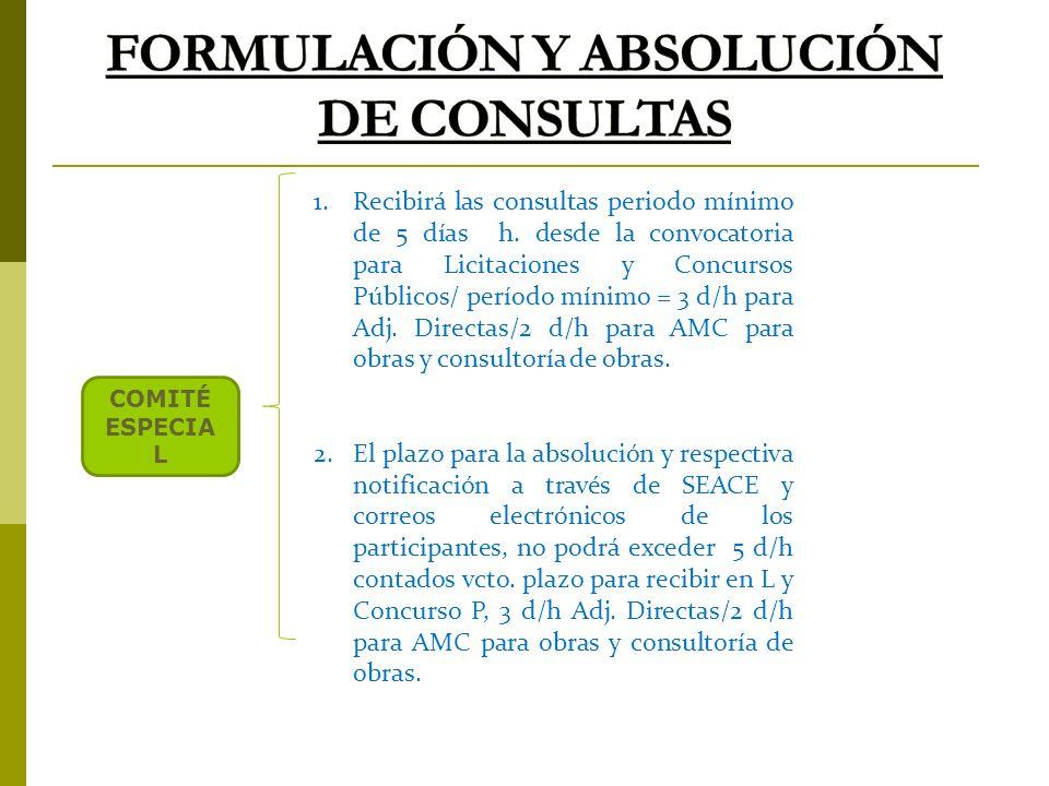 FORMULACIÓN Y ABSOLUCIÓN DE CONSULTAS