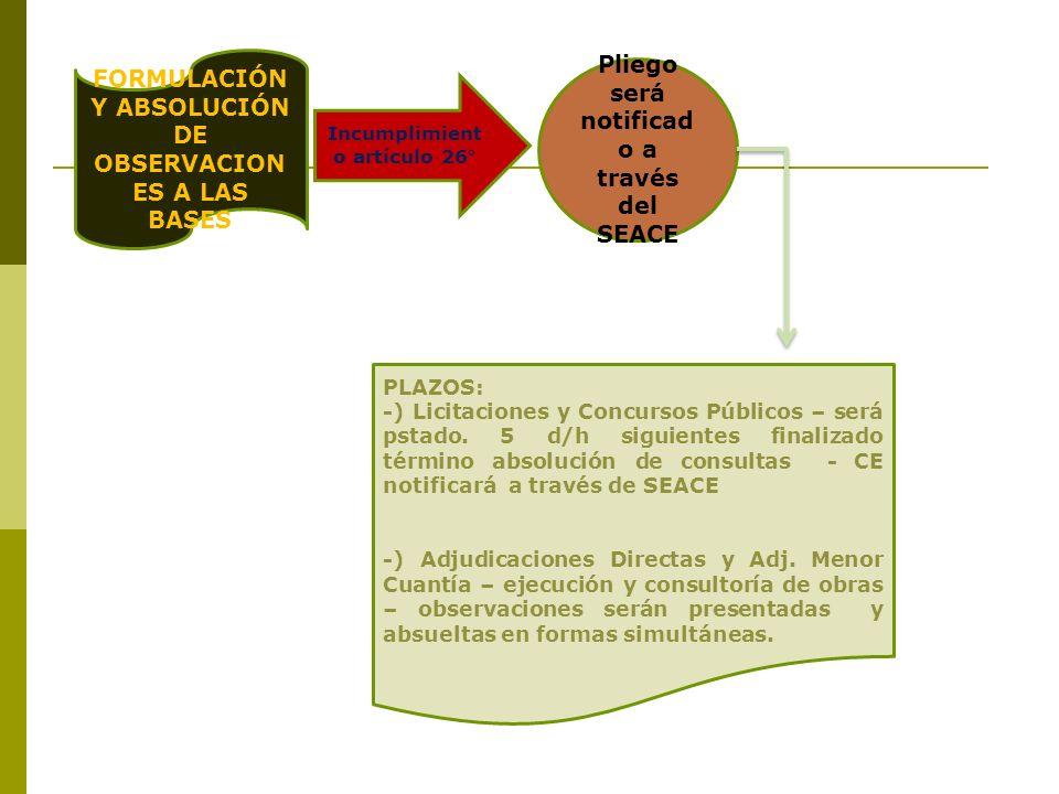 FORMULACIÓN Y ABSOLUCIÓN DE OBSERVACIONES A LAS BASES
