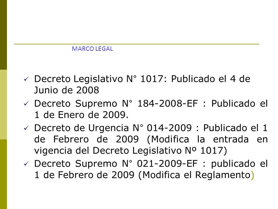 Decreto Legislativo N° 1017: Publicado el 4 de Junio de 2008