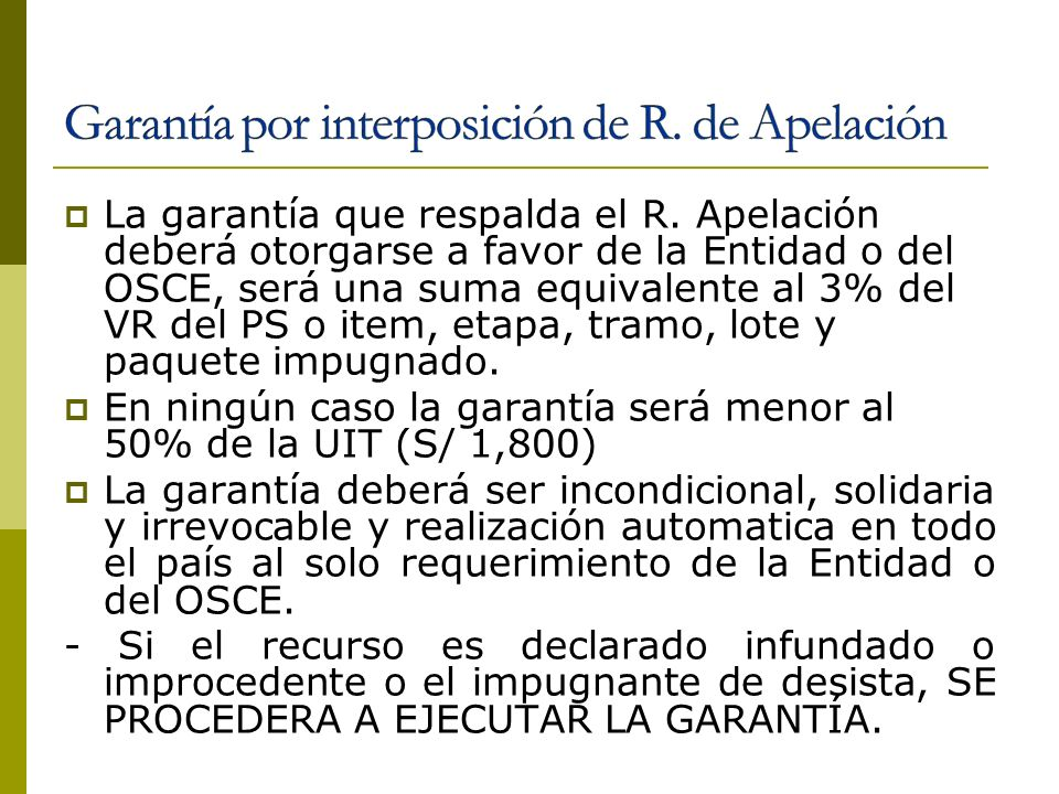 Garantía por interposición de R. de Apelación