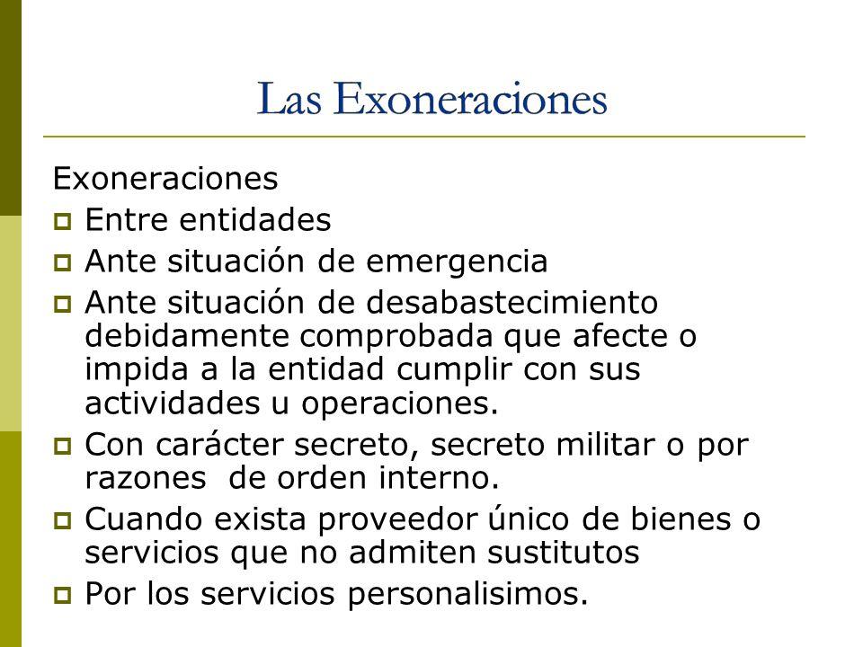 Las Exoneraciones Exoneraciones Entre entidades