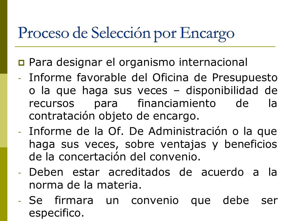 Proceso de Selección por Encargo