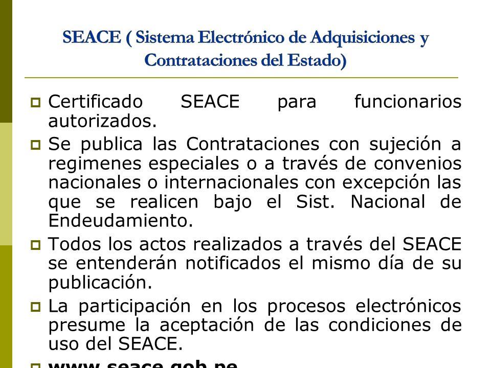 SEACE ( Sistema Electrónico de Adquisiciones y Contrataciones del Estado)