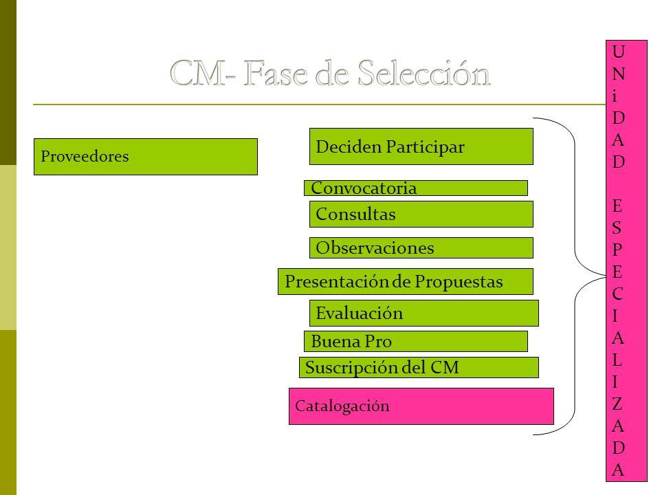 CM- Fase de Selección U N i D A E S Deciden Participar P C I