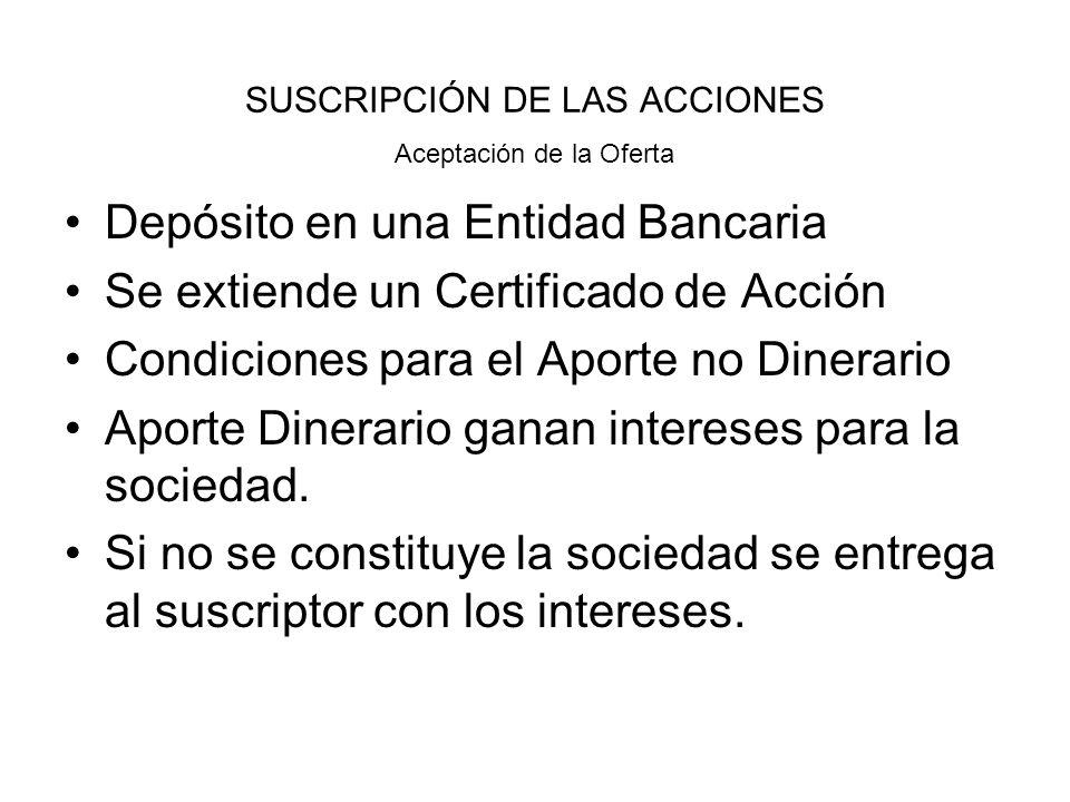 SUSCRIPCIÓN DE LAS ACCIONES