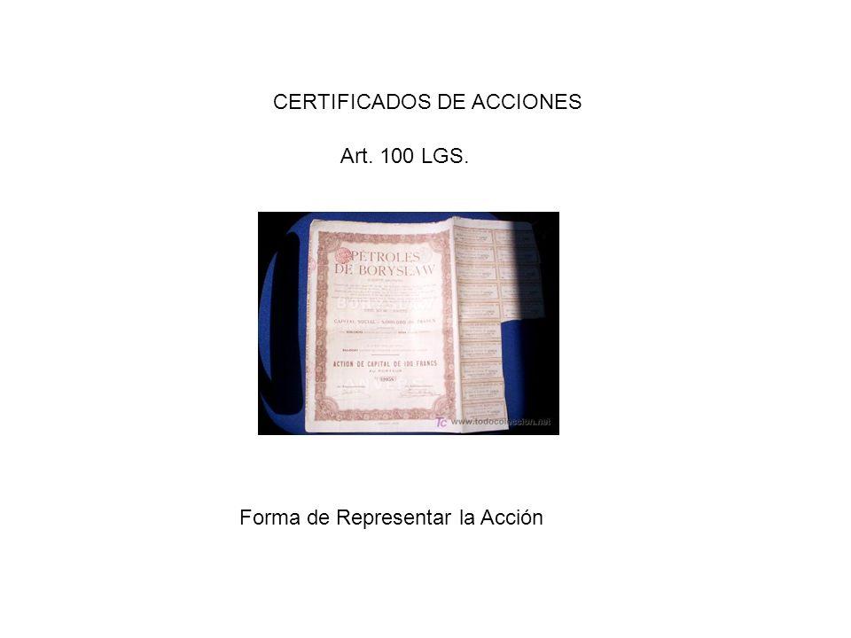 CERTIFICADOS DE ACCIONES