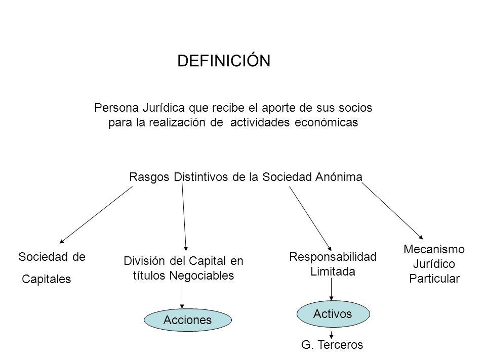 DEFINICIÓN Persona Jurídica que recibe el aporte de sus socios para la realización de actividades económicas.