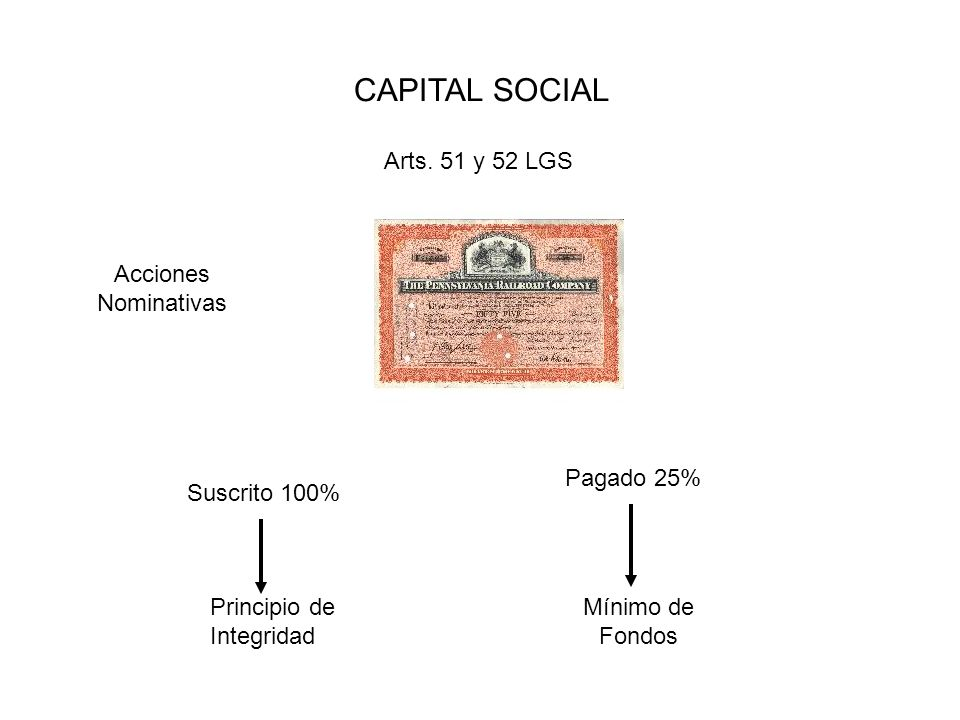 CAPITAL SOCIAL Arts. 51 y 52 LGS Acciones Nominativas Pagado 25%