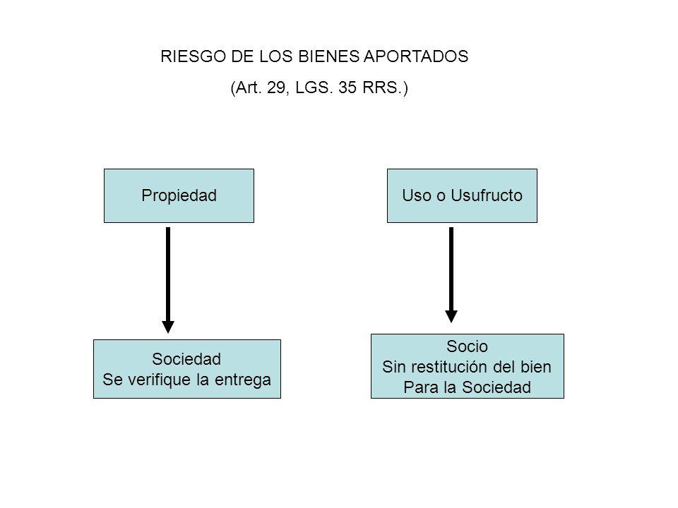 RIESGO DE LOS BIENES APORTADOS (Art. 29, LGS. 35 RRS.)
