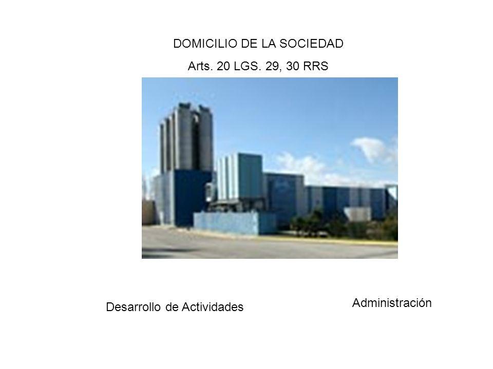 DOMICILIO DE LA SOCIEDAD Arts. 20 LGS. 29, 30 RRS