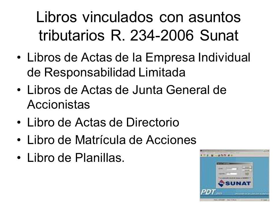 Libros vinculados con asuntos tributarios R. 234-2006 Sunat