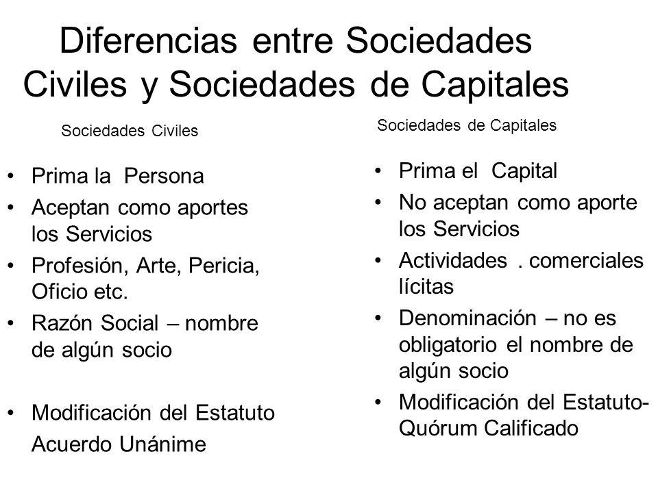 Diferencias entre Sociedades Civiles y Sociedades de Capitales