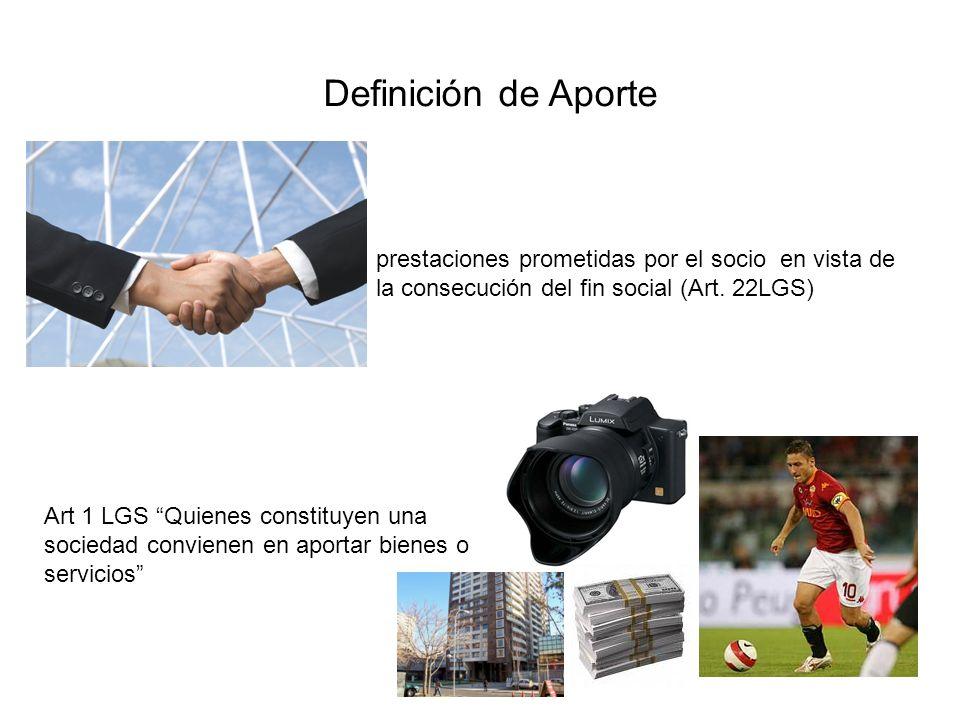 Definición de Aporte prestaciones prometidas por el socio en vista de la consecución del fin social (Art. 22LGS)
