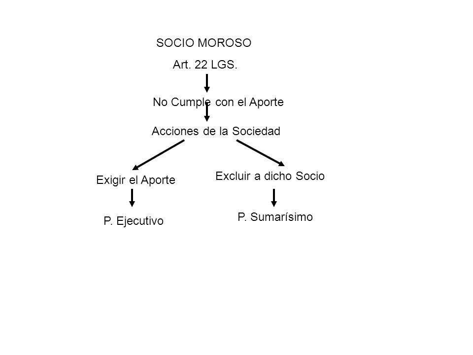 SOCIO MOROSO Art. 22 LGS. No Cumple con el Aporte. Acciones de la Sociedad. Excluir a dicho Socio.