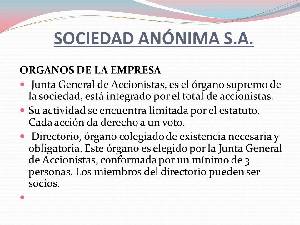 SOCIEDAD ANÓNIMA S.A. ORGANOS DE LA EMPRESA