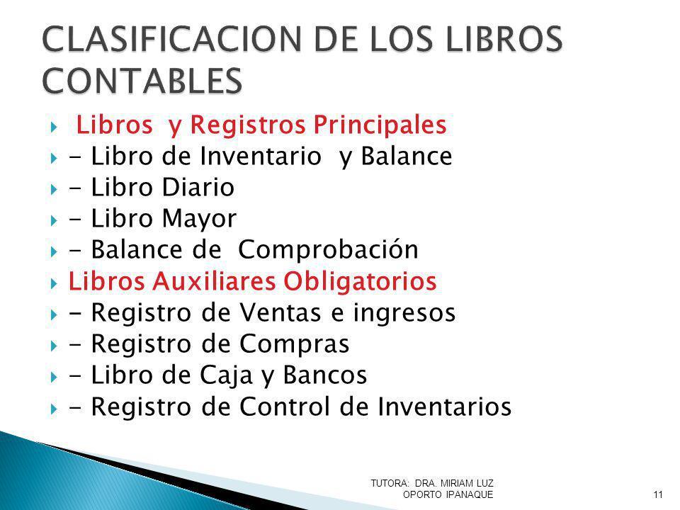 CLASIFICACION DE LOS LIBROS CONTABLES