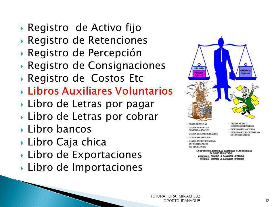 Registro de Activo fijo Registro de Retenciones Registro de Percepción