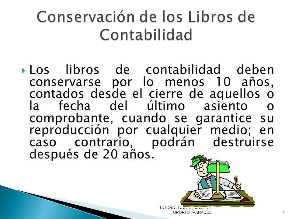 Conservación de los Libros de Contabilidad