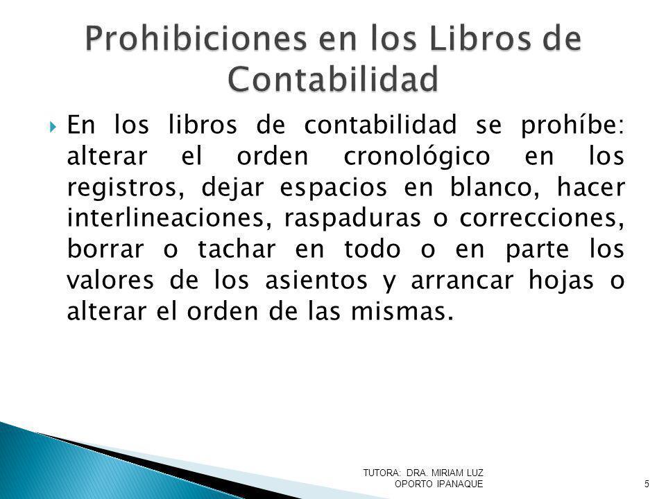 Prohibiciones en los Libros de Contabilidad