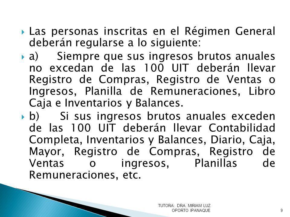 Las personas inscritas en el Régimen General deberán regularse a lo siguiente: