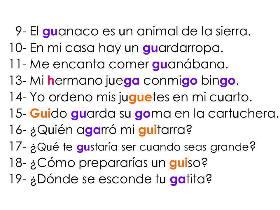 9- El guanaco es un animal de la sierra.