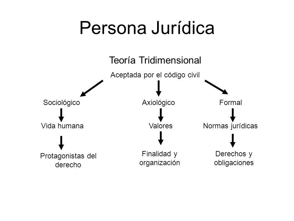 Persona Jurídica Teoría Tridimensional Aceptada por el código civil