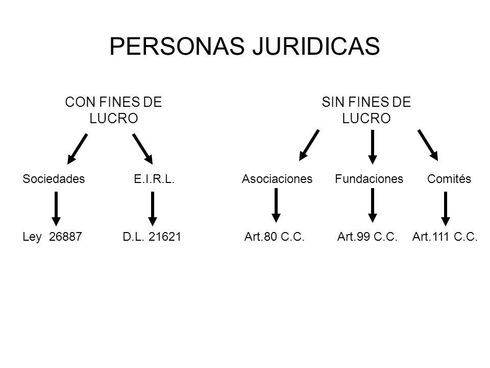 PERSONAS JURIDICAS CON FINES DE LUCRO SIN FINES DE LUCRO Sociedades