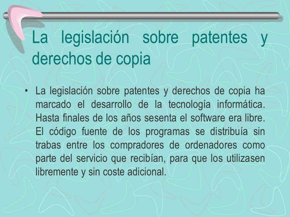 La legislación sobre patentes y derechos de copia