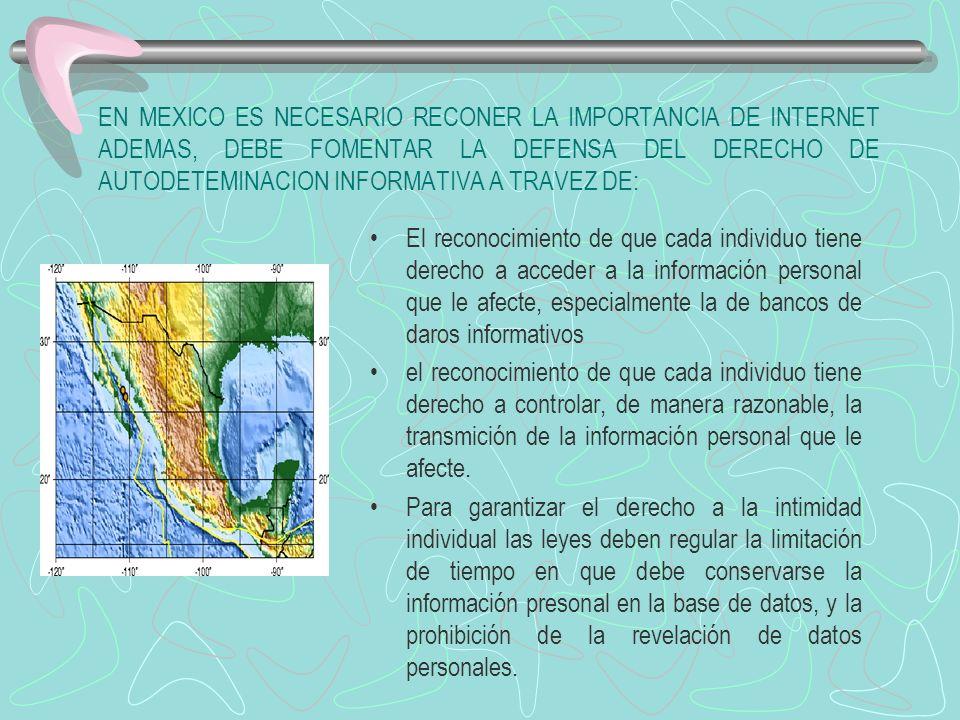 EN MEXICO ES NECESARIO RECONER LA IMPORTANCIA DE INTERNET ADEMAS, DEBE FOMENTAR LA DEFENSA DEL DERECHO DE AUTODETEMINACION INFORMATIVA A TRAVEZ DE: