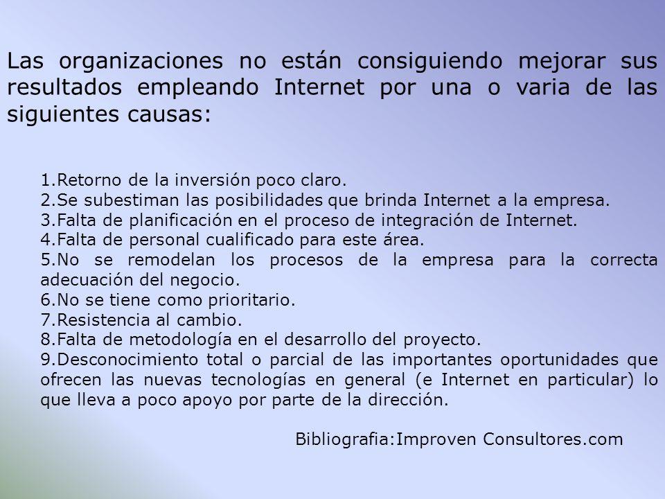 Las organizaciones no están consiguiendo mejorar sus resultados empleando Internet por una o varia de las siguientes causas: