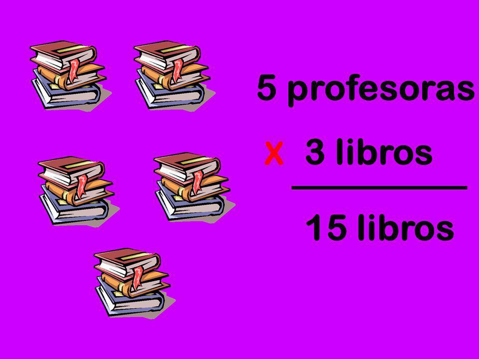 5 profesoras 3 libros X 15 libros