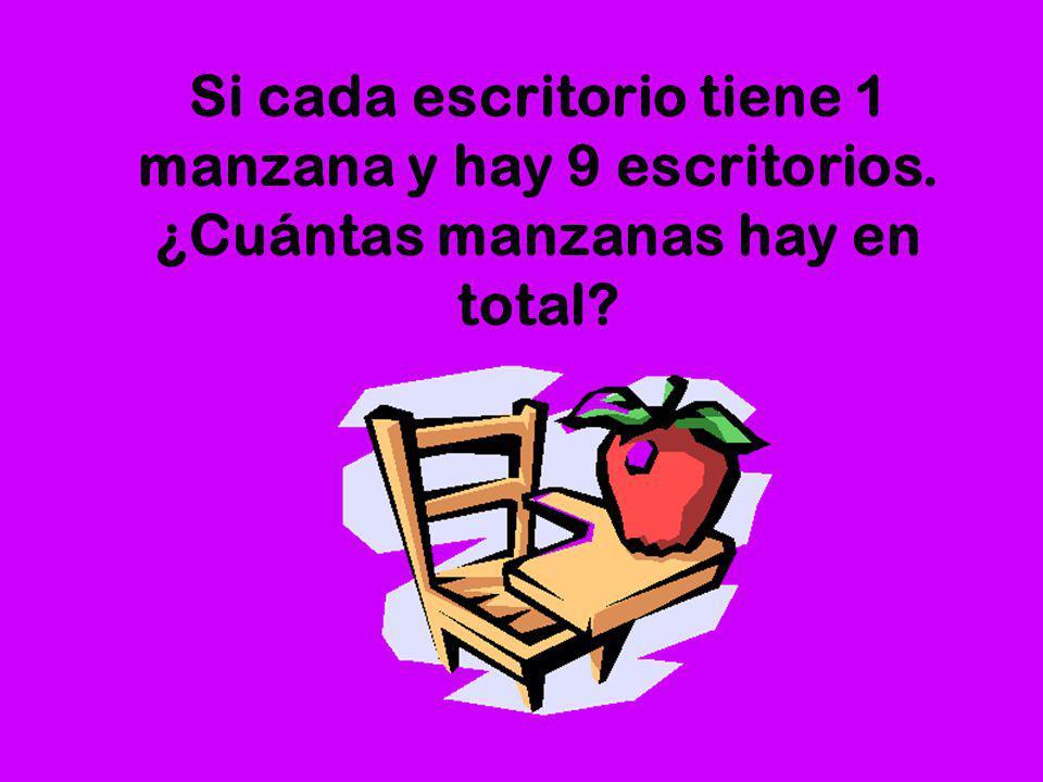 Si cada escritorio tiene 1 manzana y hay 9 escritorios