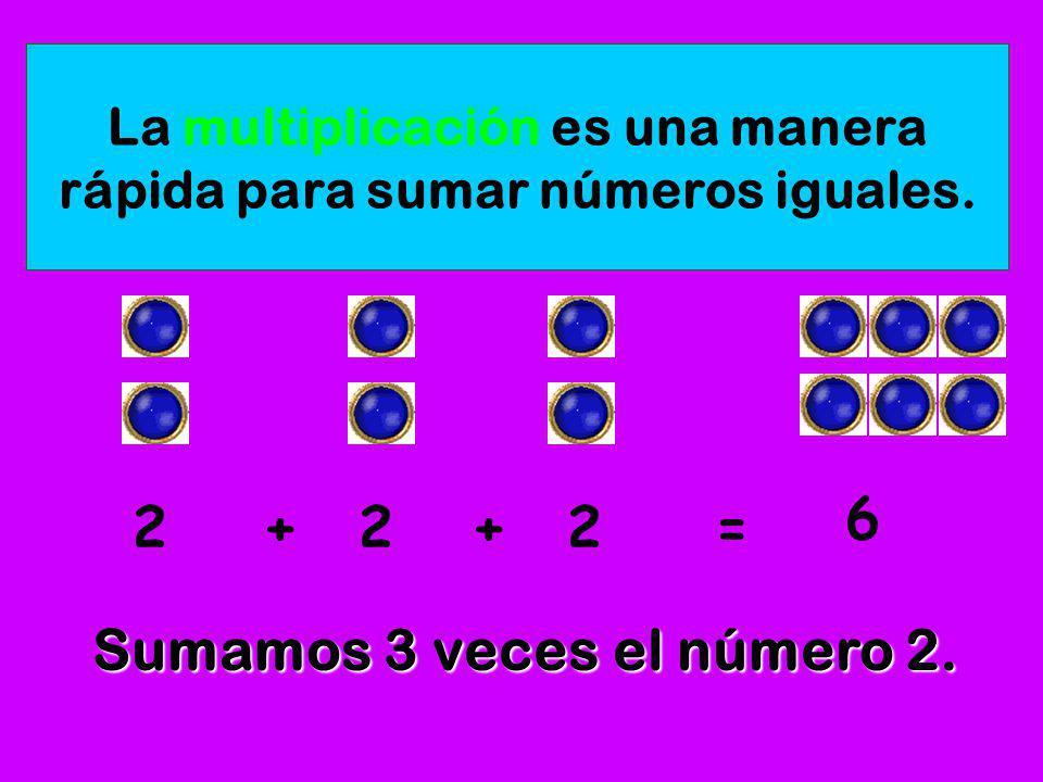 La multiplicación es una manera rápida para sumar números iguales.
